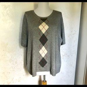Talbots Gray Argyle Silk & Cashmere Sweater